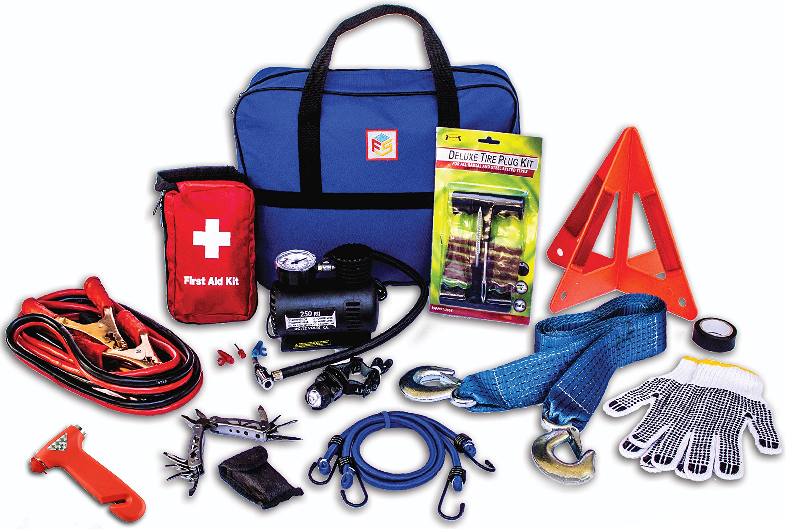 car first aid kit, in the car, emergency roadside kit,