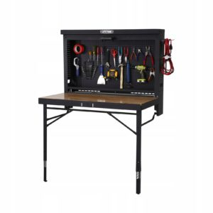 fold up workbench, portable work table, tool workbench, garage bench, wall mounted workbench, heavy duty workbench, husky portable workbench